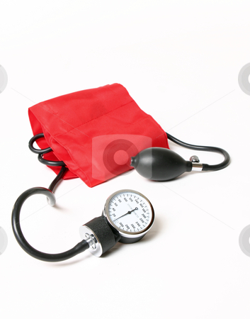 Blood pressure cuff and gauge stock photo, Blood pressure cuff and gauge by Leah-Anne Thompson
