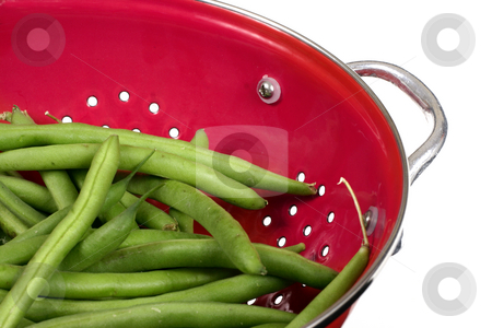 Beans in a Colander - close stock photo, A close cropped shot of green beans in a red colander by Leah-Anne Thompson