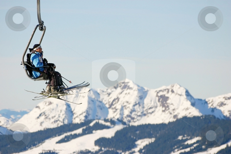 Skilift stock photo, Traveling with the skilift in the Alpes by ARPAD RADOCZY