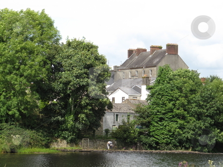 Lakeside scene stock photo, A lakeside scene from Woodford, County Galway, Ireland by Michael O'Connell