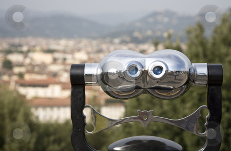 Blue Eyes stock photo, An Italian beauty, binoculars with a view on Florence, Italy, Europe by mdphot