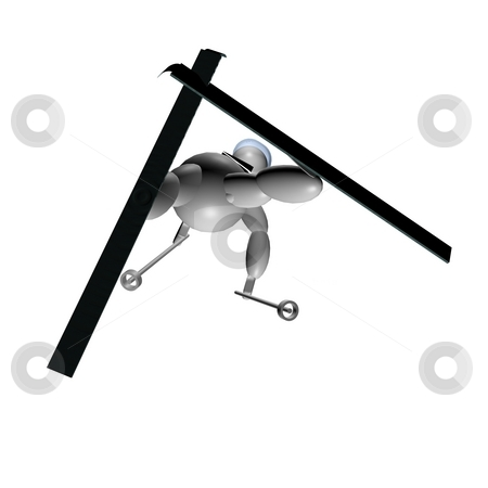 3D Puppet doing freestyle skiing stock photo, 3D Puppet doing freestyle skiing over white background by Fabio Alcini