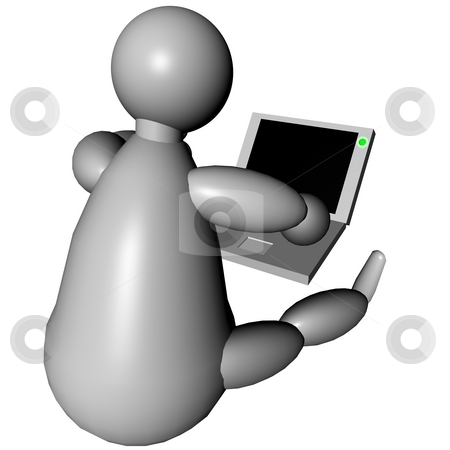 3d puppet using a laptop stock photo, 3d puppet using a laptop, sitting on the floor by Fabio Alcini