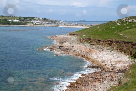 Porthcressa bay and Hugh town. St. Mary's Isles of Scilly. stock photo, Porthcressa bay and Hugh town. St. Mary's Isles of Scilly. by Stephen Rees