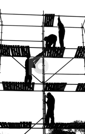 Construction Workers stock photo, Montage workers by Stanislovas Kairys