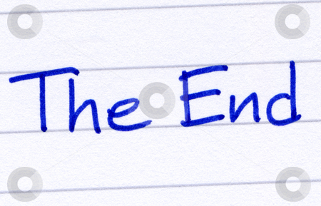 The End, written with blue ink on white paper. stock photo, The End, written with blue ink on white paper. by Stephen Rees