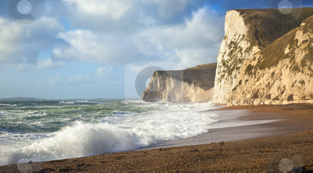 Dorset coast stock photo, A photography of a stormy sea at Dorset UK by Markus Gann