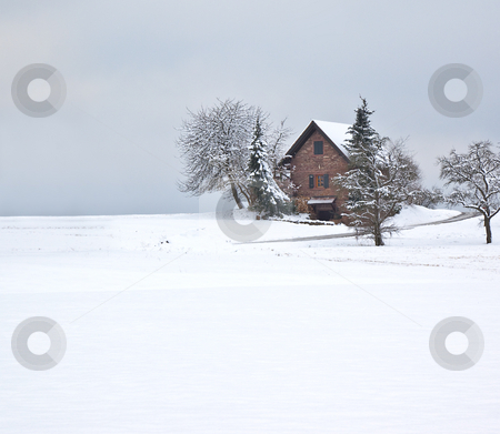 Winter stock photo, A photography of a winter scenery with a house by Markus Gann