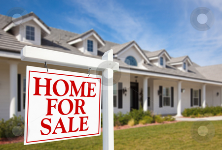 For Sale Real Estate Sign and New Home stock photo, For Sale Real Estate Sign in Front of Beautiful New Home by Andy Dean