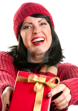 Pretty Woman Offering Holiday Gift stock photo, Happy, Attractive Woman Offering Holiday Gift Isolated on a White Background. by Andy Dean