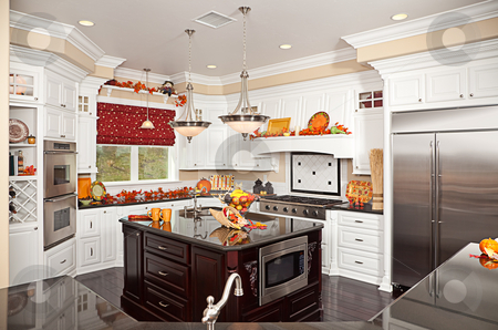 Beautiful Custom Kitchen Interior stock photo, Beautiful Custom Kitchen Interior With Fall Decorations in a New House by Andy Dean
