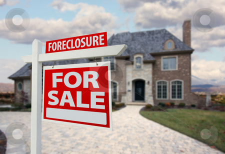 Foreclosure Home For Sale Sign and House stock photo, Foreclosure Home For Sale Sign and House with Dramatic Sky Background. by Andy Dean