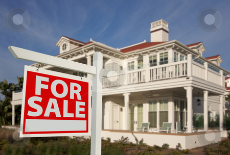 Home For Sale Sign & New Home stock photo, Home For Sale Sign in Front of New House by Andy Dean