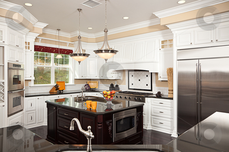 Beautiful Custom Kitchen Interior stock photo, Beautiful Custom Kitchen Interior in a New House by Andy Dean