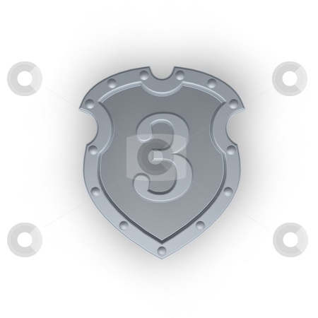 Shield with number three stock photo, Metal shield with the number three on white background - 3d illustration by J?