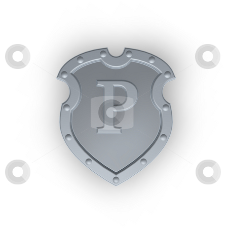 Shield with letter P stock photo, Metal shield with letter P on white background - 3d illustration by J?