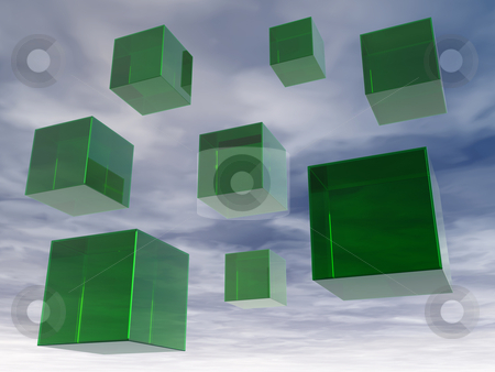 Glass cubes stock photo, Green floating glass cubes in the sky - 3d illustration by J?