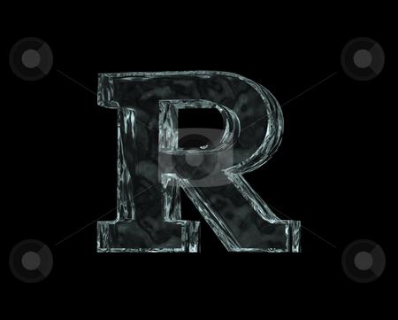 Frozen letter R stock photo, Frozen uppercase letter R on black background - 3d illustration by J?