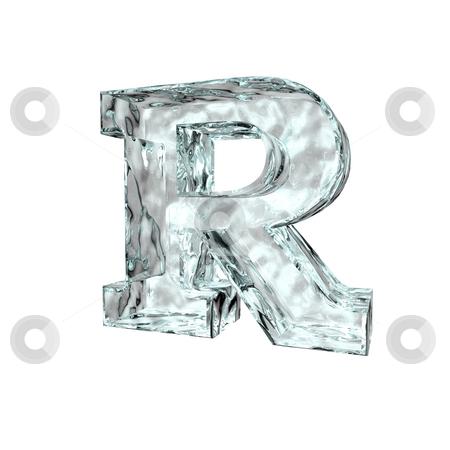 Frozen letter R stock photo, Frozen uppercase letter R on white background - 3d illustration by J?