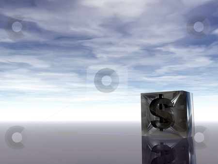 Abstract dollar stock photo, Dollar symbol in a glass cube under cloudy blue sky - 3d illustration by J?