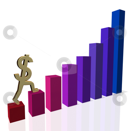Recovering Dollar stock photo, A gold dollar sign beginning a confident climb up a bar chart.  Illustrates economic recovery or a return to profitability. by Mark Carrel