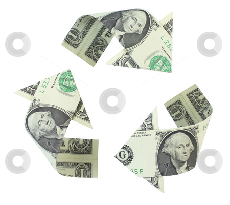 Recycling Dollars stock photo, Recycling logo made of dollar bills, folded into curved arrows and  isolated on a white background. by Mark Carrel