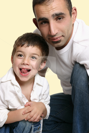 Father and son stock photo, Casual portrait of a father with joyful son by Leah-Anne Thompson