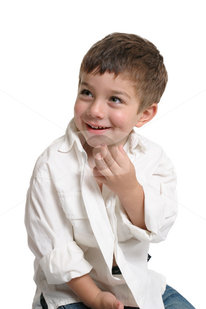 Toddler with beautiful smile stock photo, Beautiful young boy with a gorgeous smile - white background with space. by Leah-Anne Thompson