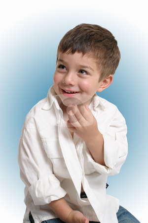 Toddler with happy smile stock photo, Beautiful young boy with a gorgeous smile - blue background by Leah-Anne Thompson