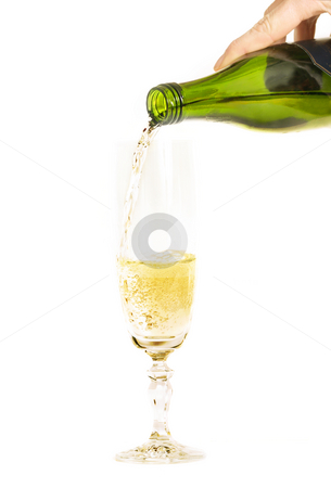 Champagne stock photo, Pouring champagne into a tall glass by Leah-Anne Thompson