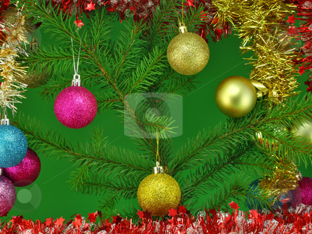 New Years balls stock photo, Gold, red and blue New Year's spheres balls  on a green fur-tree branch. by Aleksandr Volokov