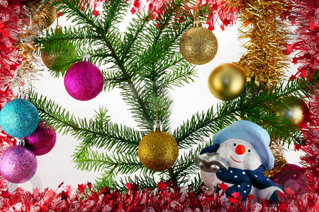 New Year's composition  with Snowball stock photo, New Year's decorative composition with bright brilliant balls and a cheerful snowball. by Aleksandr Volokov