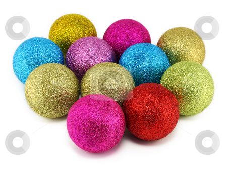 New Year's spheres with a rough surface stock photo, Gold, red, lilac and blue New Year's spheres with a rough surface. Isolated on white. by Aleksandr Volokov