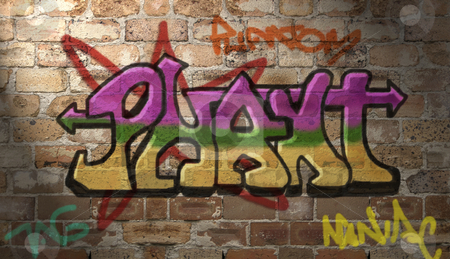 Writing on the wall stock photo, Grafitti was  drawn and coloured in photoshop using a custom aerosol brush (which I made myself) over photographed brickworkAdded lighting effect to the wall. by Leah-Anne Thompson
