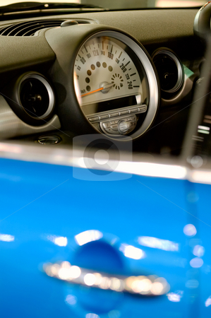 Dashboard stock photo, The closeup view of blue car body focused on dashboard by Tito Wong