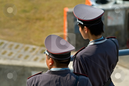 Security guard surveillance stock photo, Security guards with police like uniform in China by Tito Wong