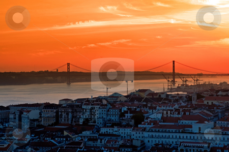 Landscape of city Lisbon stock photo, The landscape of city Lisbon at dush by Tito Wong