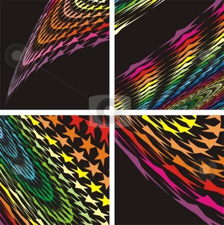 Abstract Stars background stock vector clipart, Colours Stars on black background, vector illustration by Čerešňák