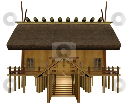 Imperial shrine stock photo, 3D rendered imperial shrine on white background isolated by Patrik Ruzic