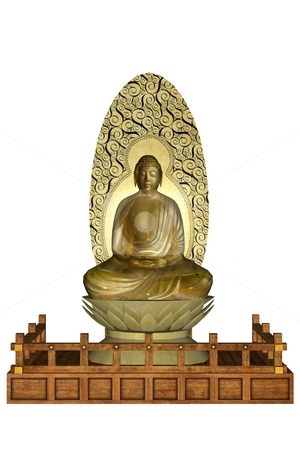 Statue of budha stock photo, 3D rendered statue of budha on white background isolated by Patrik Ruzic