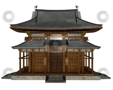 Buddhist temple stock photo, 3D rendered buddhist temple on white background isolated by Patrik Ruzic