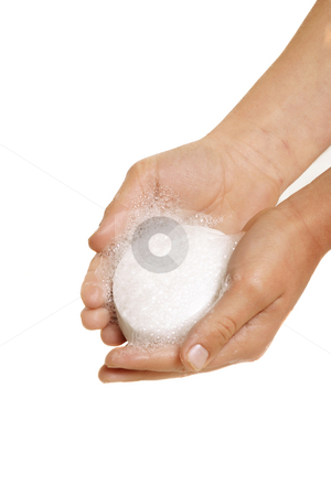 Hands holding soap stock photo, Hands holding lathered soap on a white background, by Leah-Anne Thompson