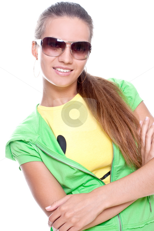 Woman in a yellow shirt and green jacket stock photo, Woman in a yellow shirt and green jacket posing on a white background by Artem Zamula