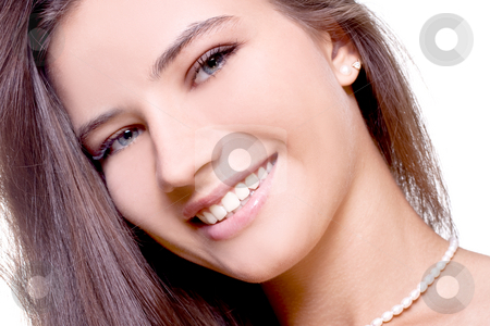 Beautiful woman face stock photo, Beautiful woman face posing on a white background by Artem Zamula