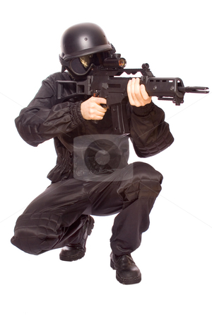Game at the soldiers stock photo, One soldier with the gun in the hands on a white background by Artem Zamula