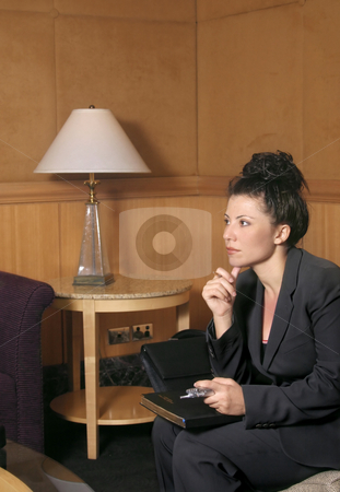 Business woman stock photo, Businesswoman in a waiting area by Leah-Anne Thompson