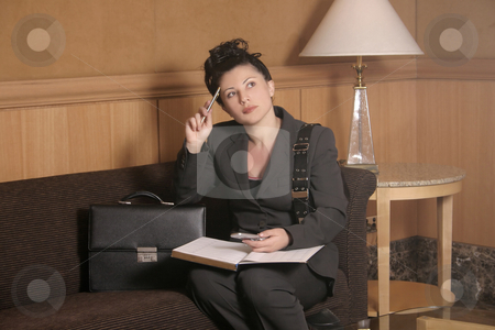 Waiting stock photo, Woman in waiting room or hotel lobby by Leah-Anne Thompson