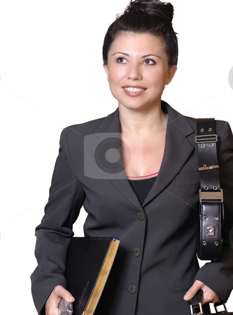 Getting to work stock photo, Busy office worker on the go by Leah-Anne Thompson