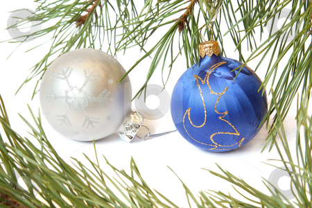 Christmas tree bauble stock photo, Christmas Tree and Bauble. Isolated on white by Olga Lipatova