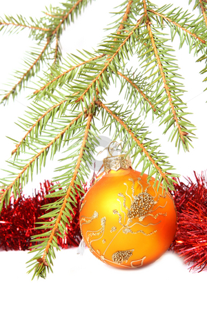 Christmas tree bauble stock photo, Christmas Tree, bauble and tinsel. Isolated on white by Olga Lipatova